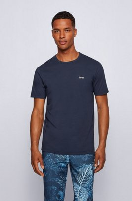 Regular-fit T-shirt with contrast detail, Dark Blue