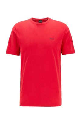 Regular-fit T-shirt met contrastdetail, Rood