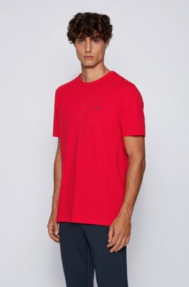 Regular-fit T-shirt met contrastdetail, Rood