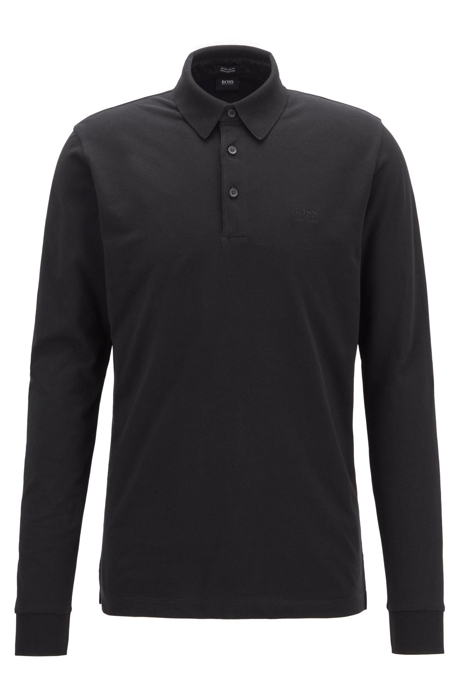 Longsleeve-Poloshirt aus Baumwoll-Piqué, Schwarz