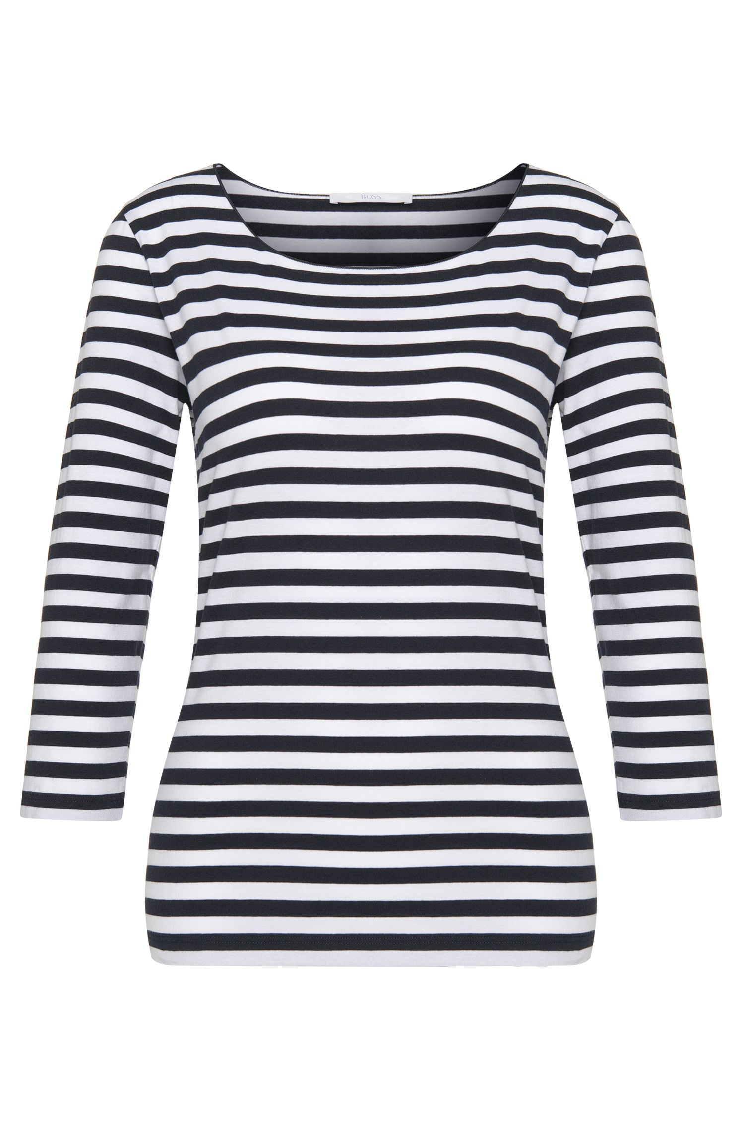 Striped crew-neck top