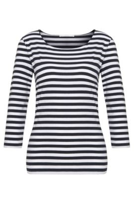Striped crew-neck top, Patterned