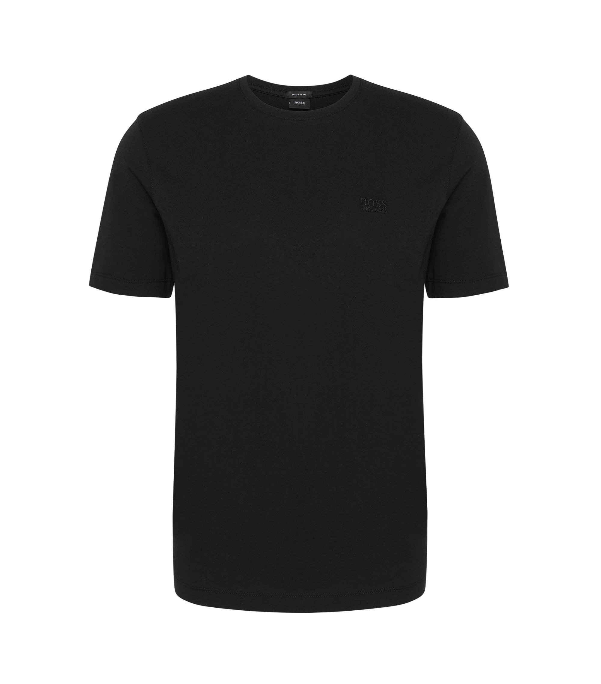Regular-fit t-shirt double pack in cotton: 'Twins 01', Black