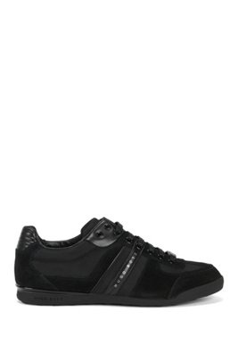 Low-profile sneakers with technical construction, Black