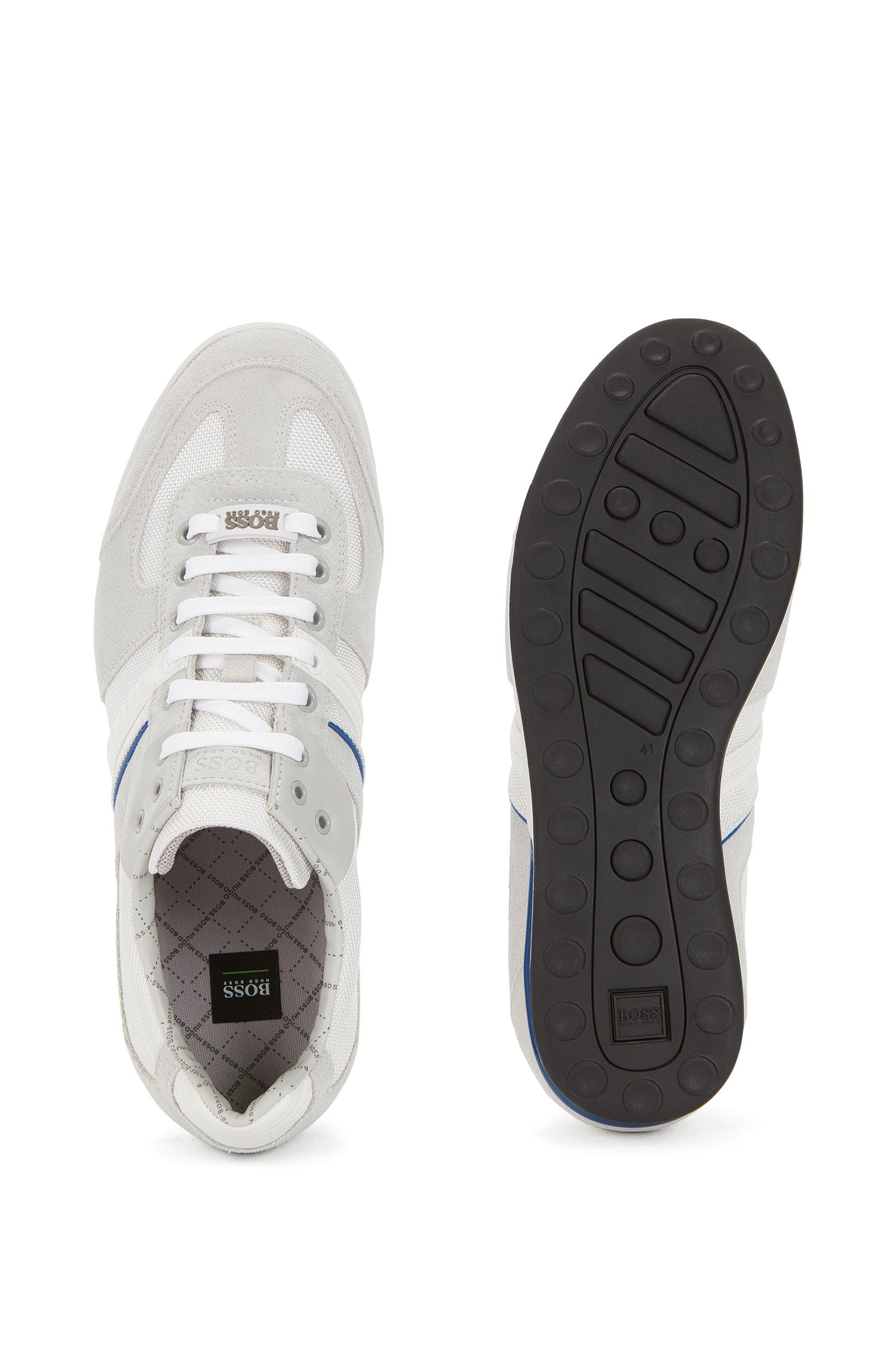 Low-profile sneakers with technical construction