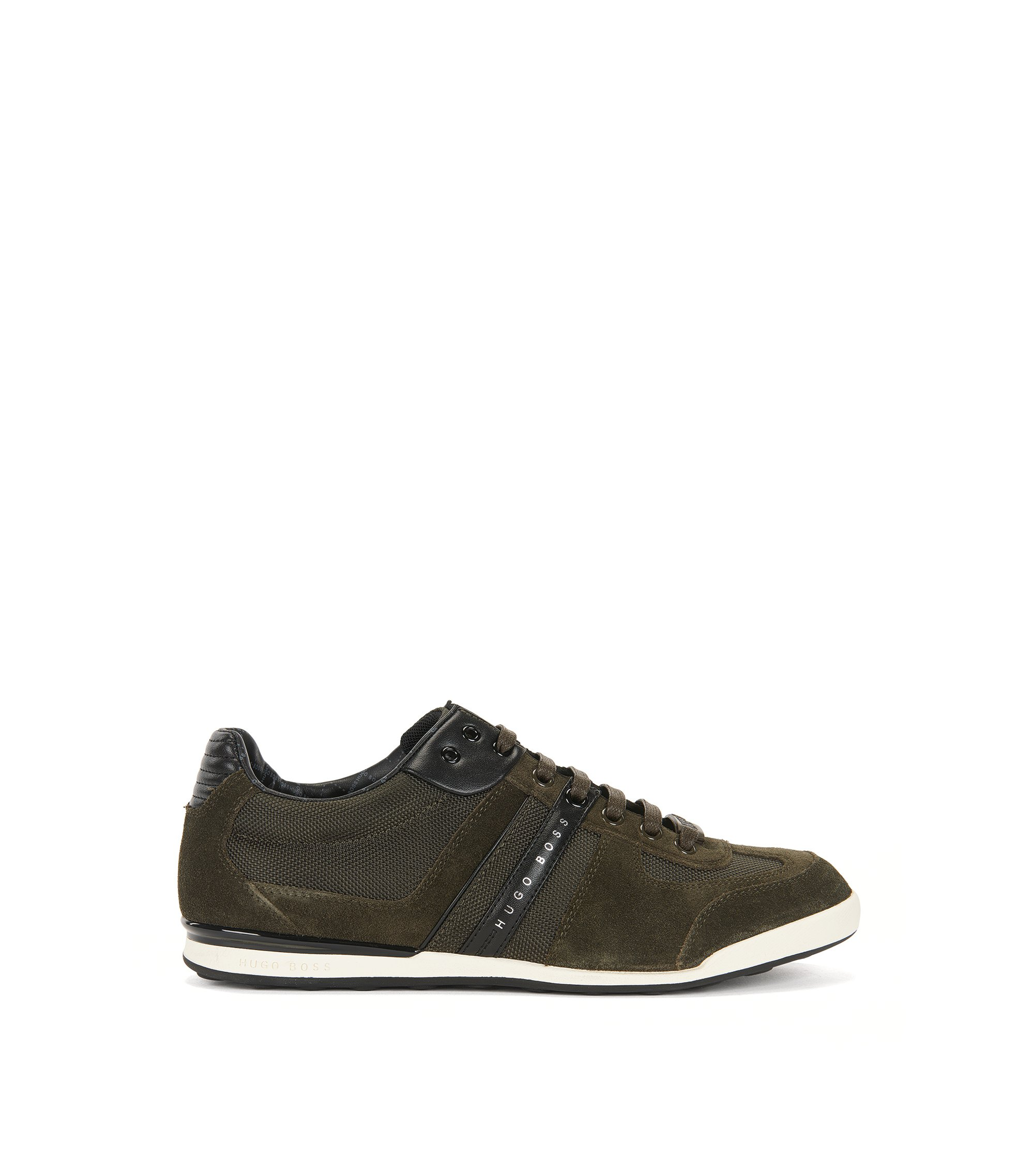 Low-profile sneakers with technical construction, Dark Green