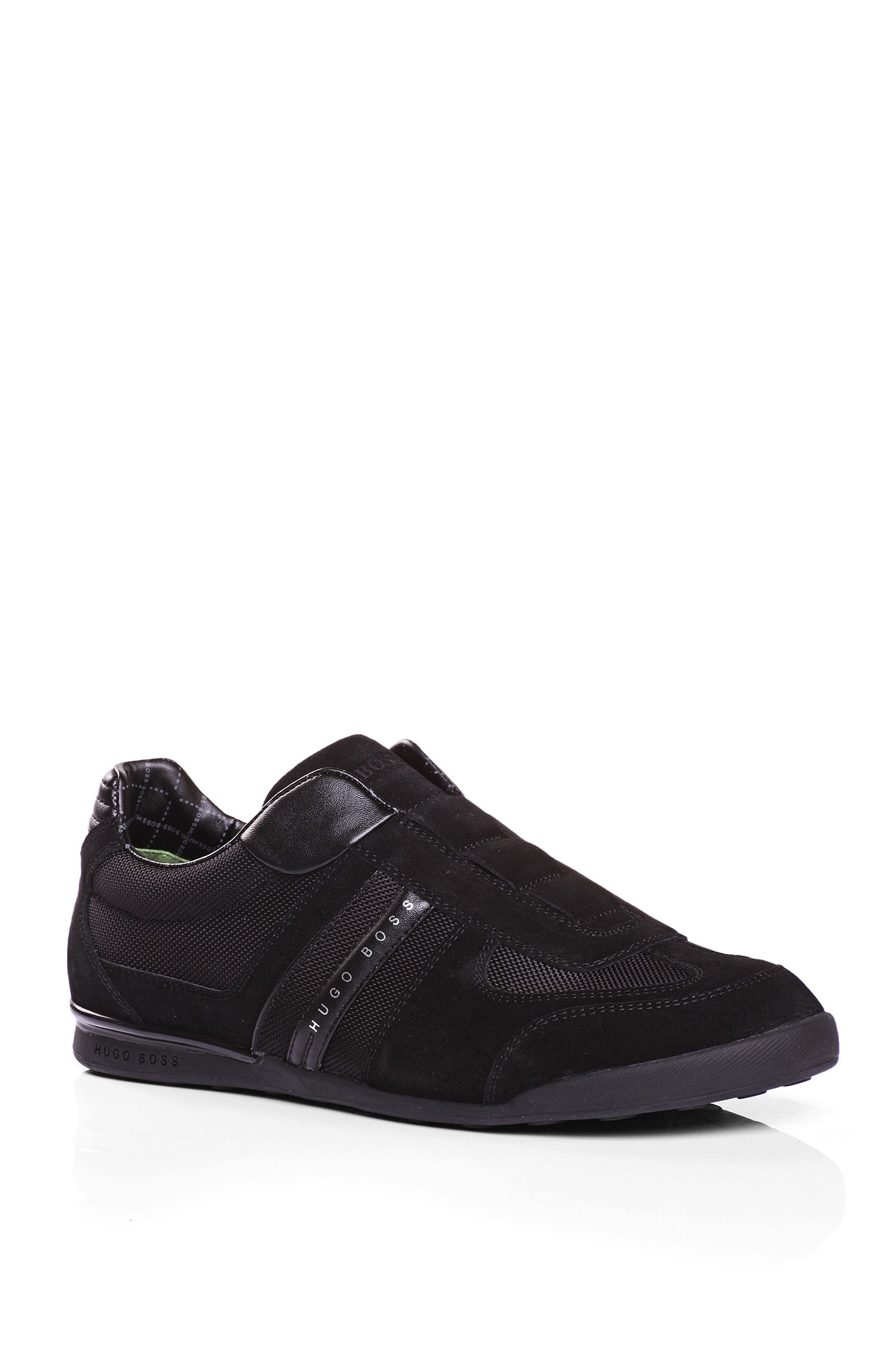 Trainers in suede with nylon sections: 'AKEEN I', Black