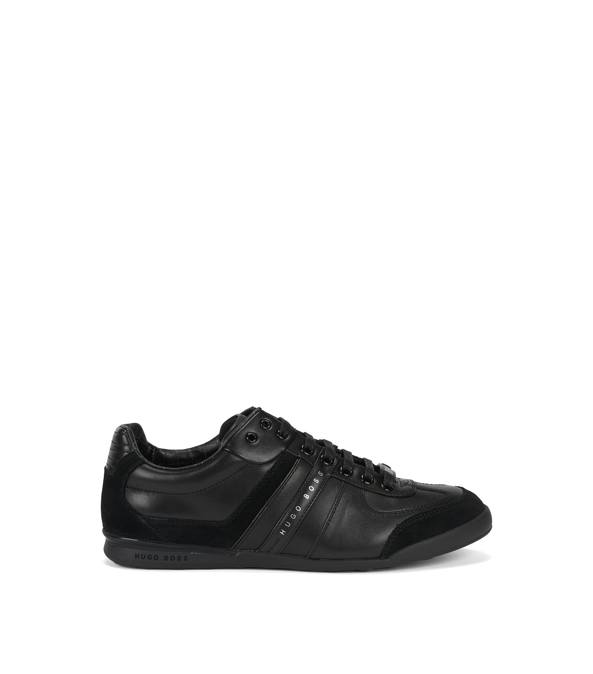Low-top trainers in leather and suede, Black