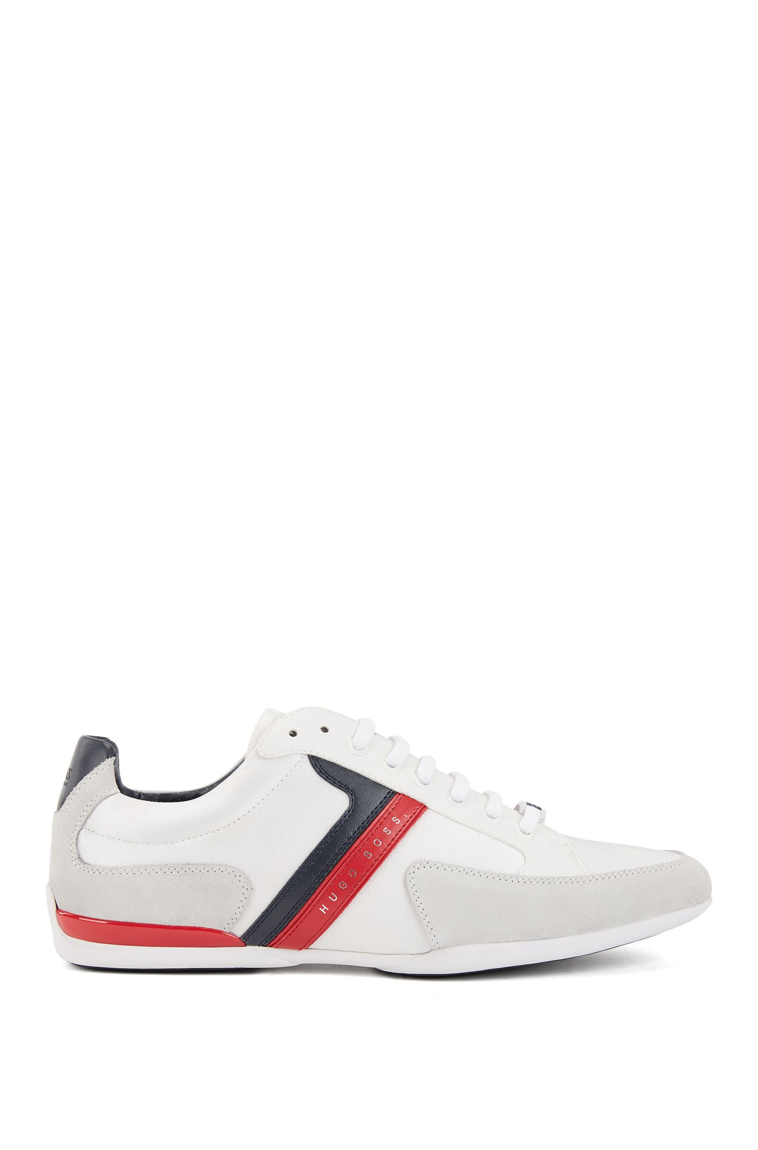 Material-mix trainers with rubber sole, Open White