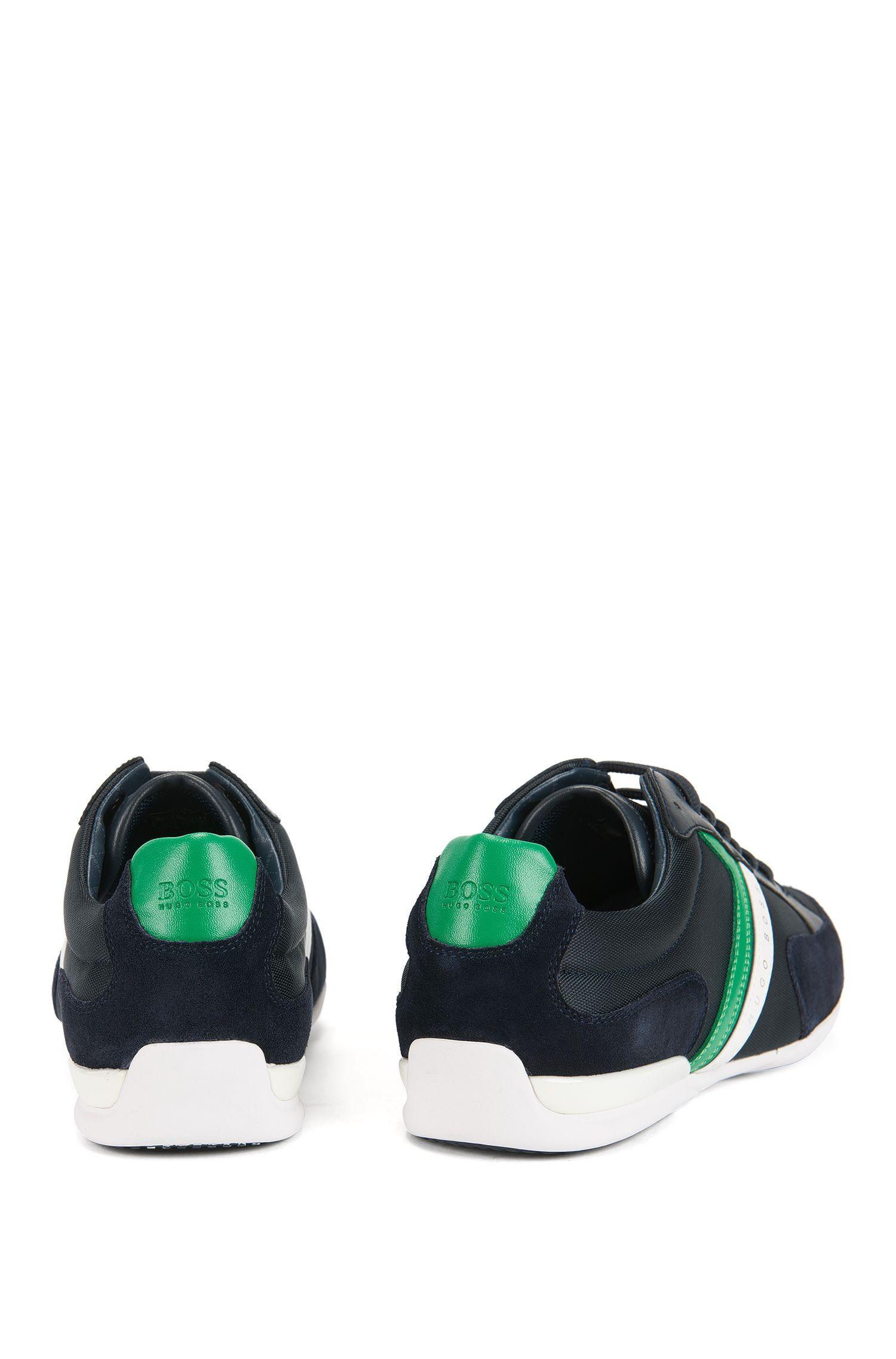 Sneakers in materiali misti con suola in gomma, Blu scuro
