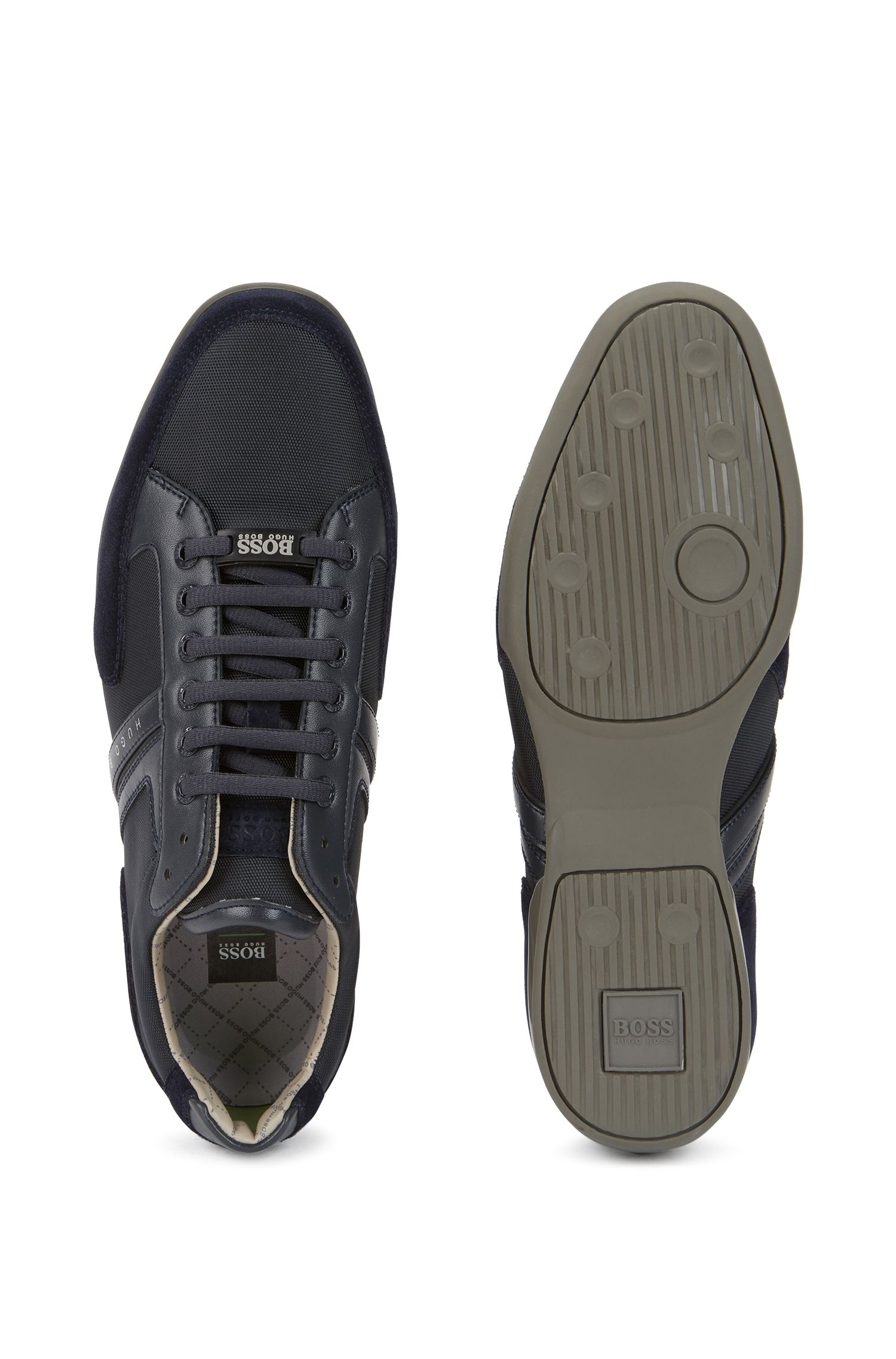 Material-mix trainers with rubber sole