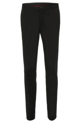 Extra slim-fit chinos in stretch cotton: 'Heldor1', Black