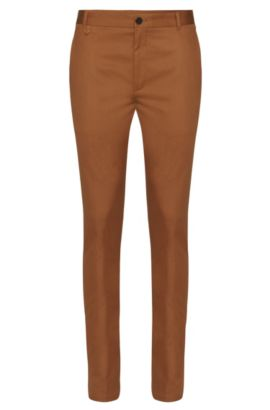 Chino extra slim fit in cotone elasticizzato: 'Heldor1', Marrone
