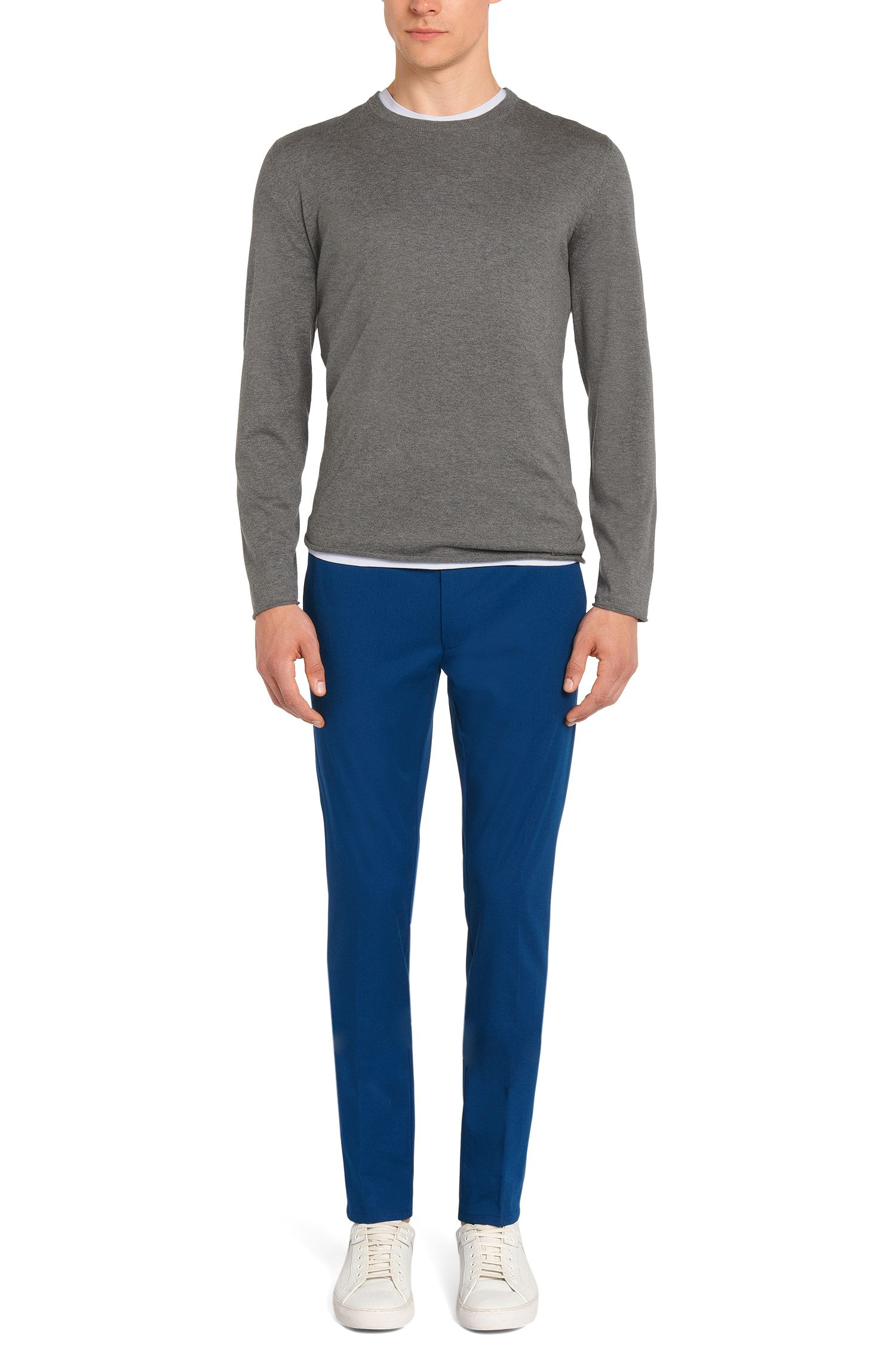 Extra slim-fit chinos in stretch cotton: 'Heldor1', Blue