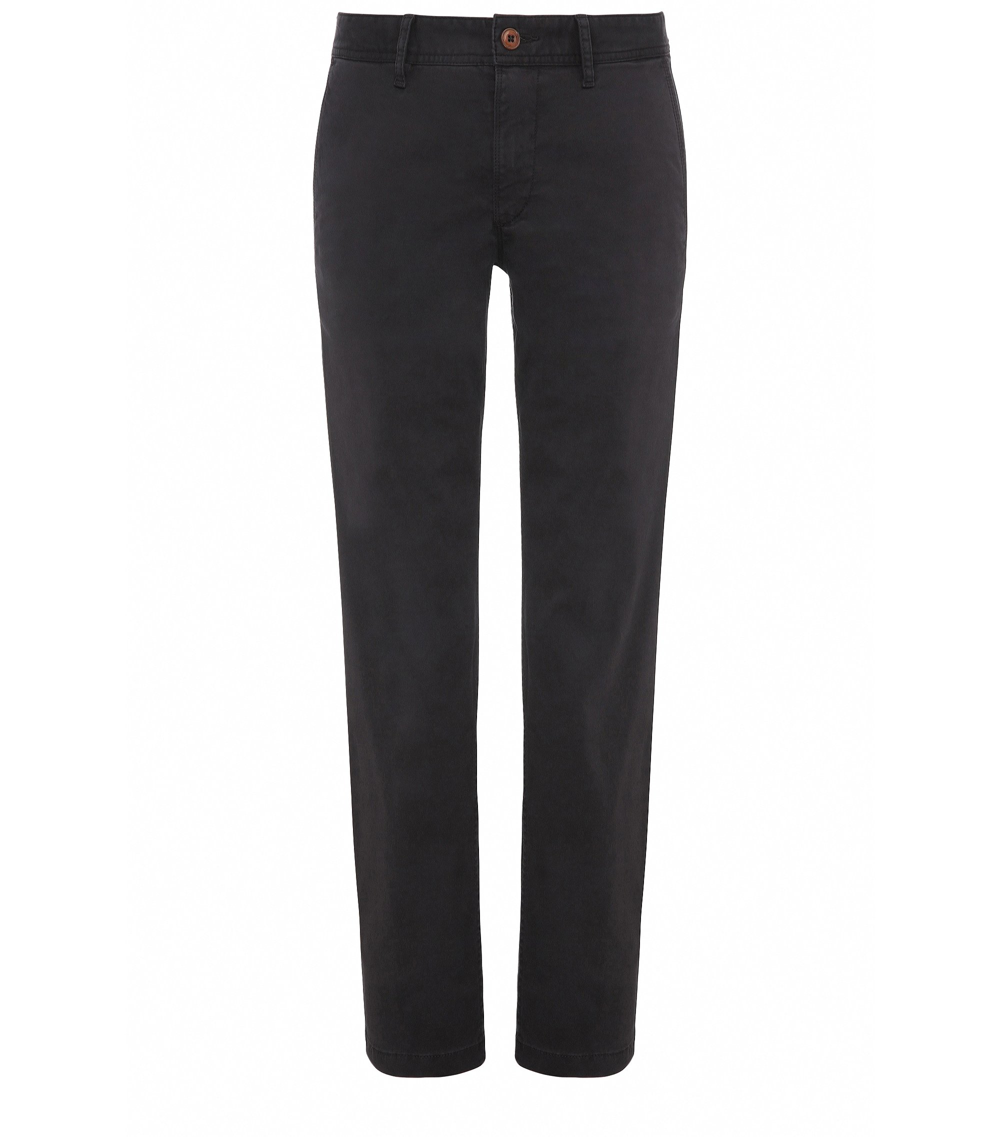 Chino Regular Fit en coton stretch brossé, Noir