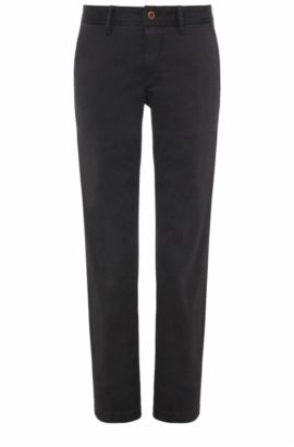Regular-fit chinos in brushed stretch cotton, Black