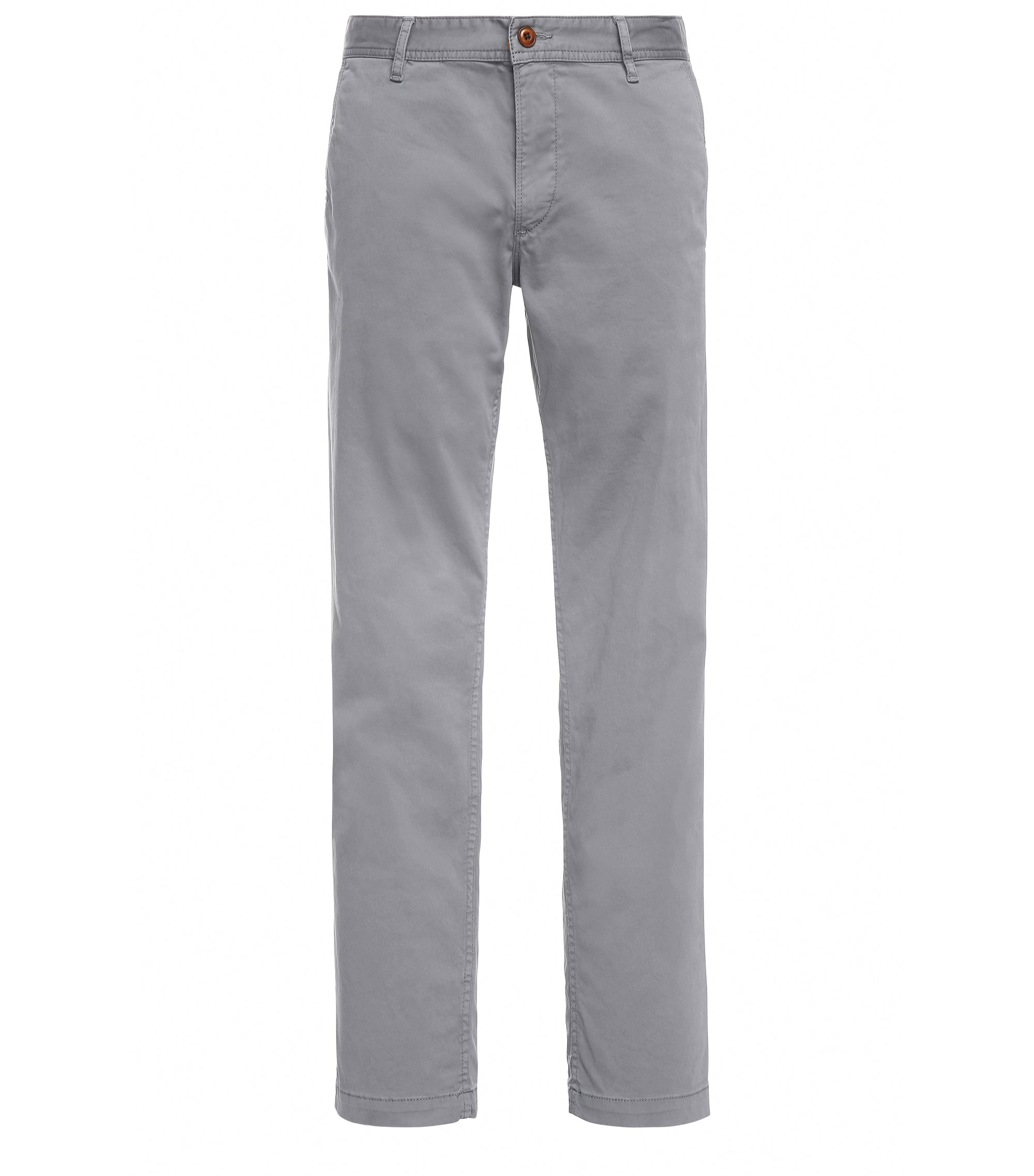 Regular-fit chinos in brushed stretch cotton, Grey