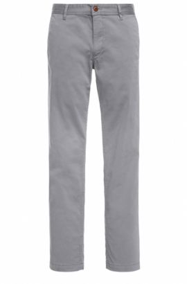 Regular-fit chinos in brushed stretch cotton, Dark Grey