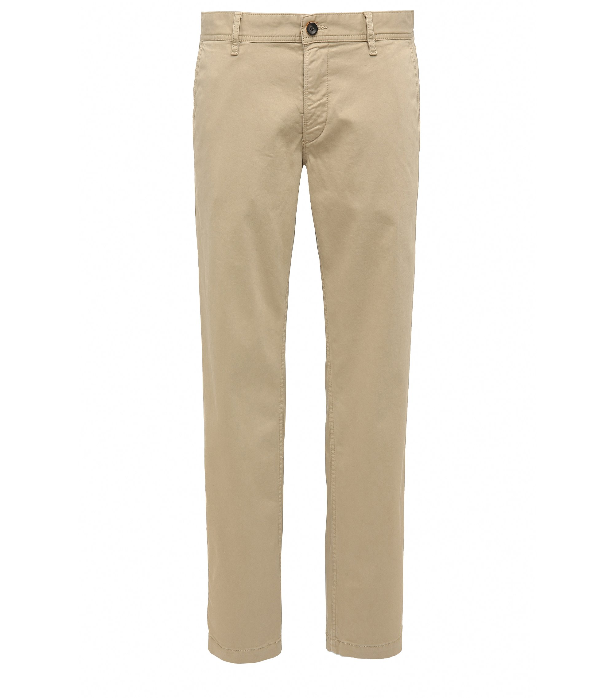 Chino Regular Fit en coton stretch brossé, Brun chiné