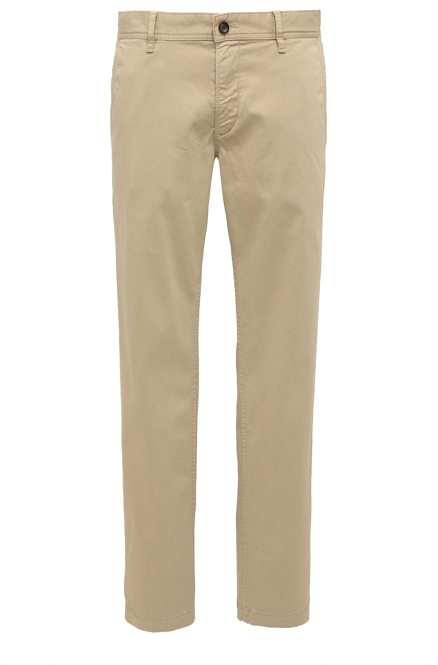 Regular-Fit Chino aus angerauter Stretch-Baumwolle