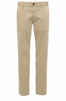 Regular-fit chinos in brushed stretch cotton, Light Brown