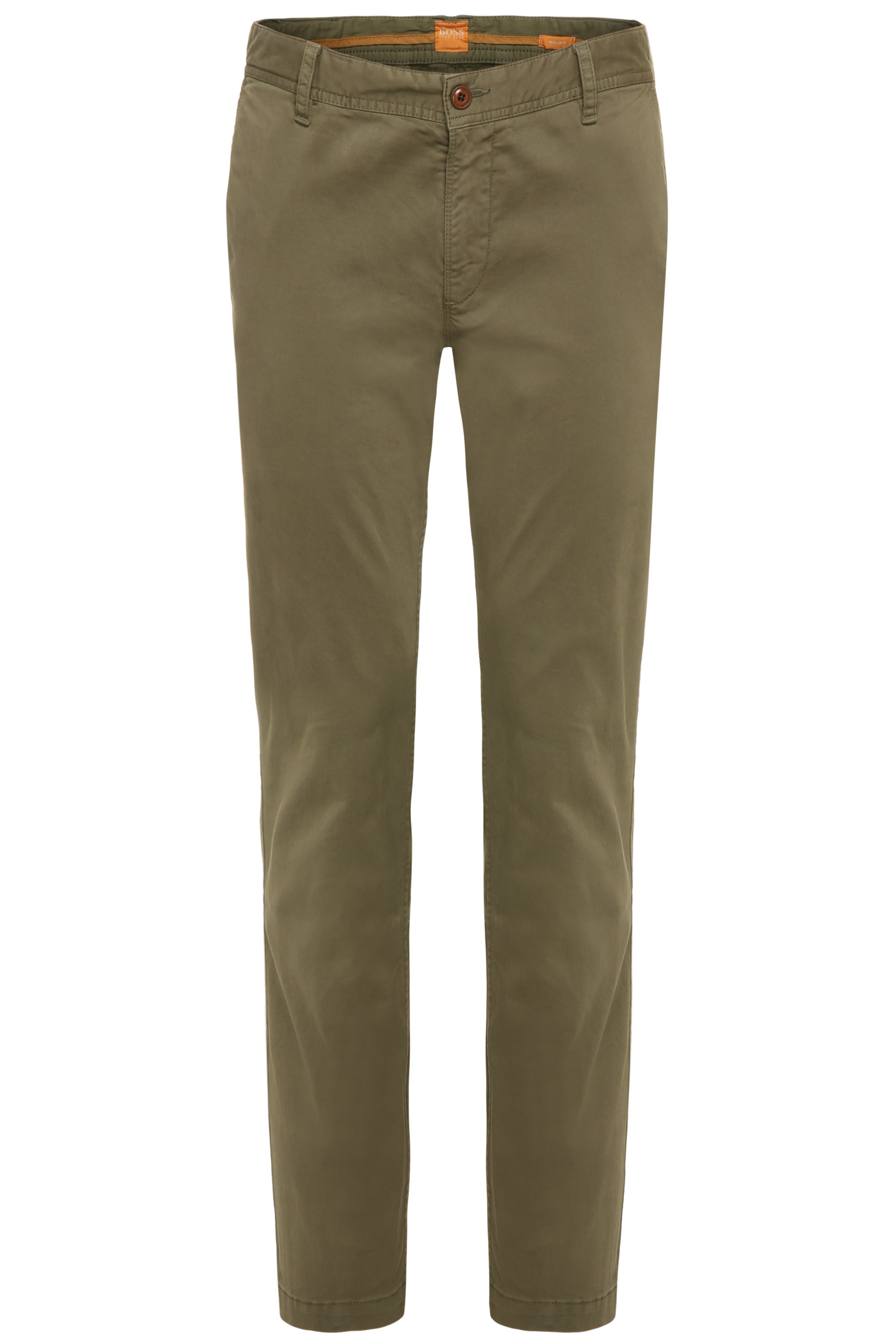 Regular-fit chinos in brushed stretch cotton, Green
