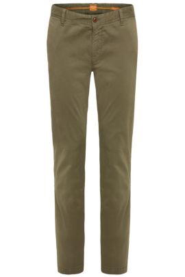 Chino Regular Fit en coton stretch brossé, Vert