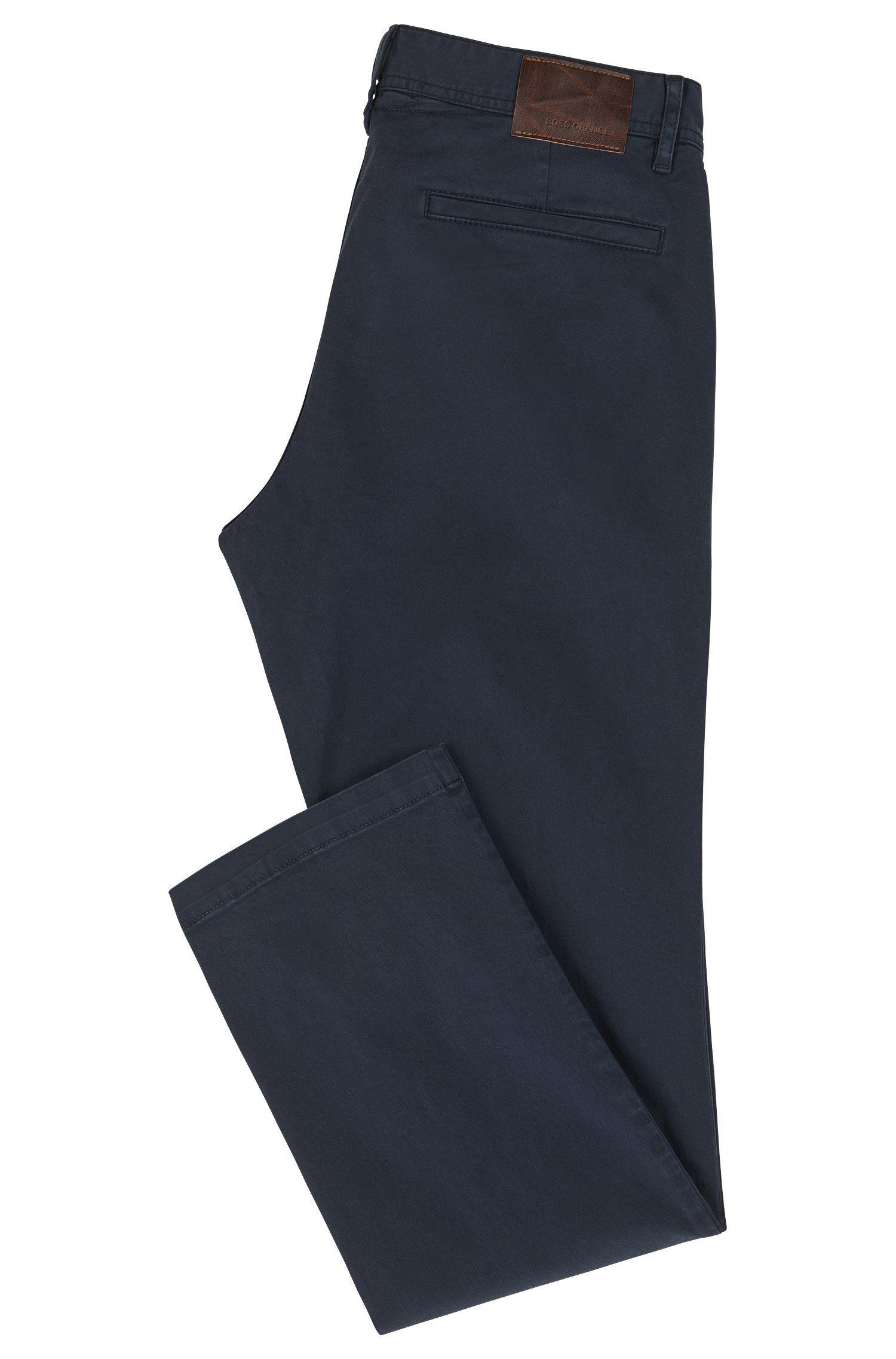 Chinos regular fit en algodón elástico cepillado
