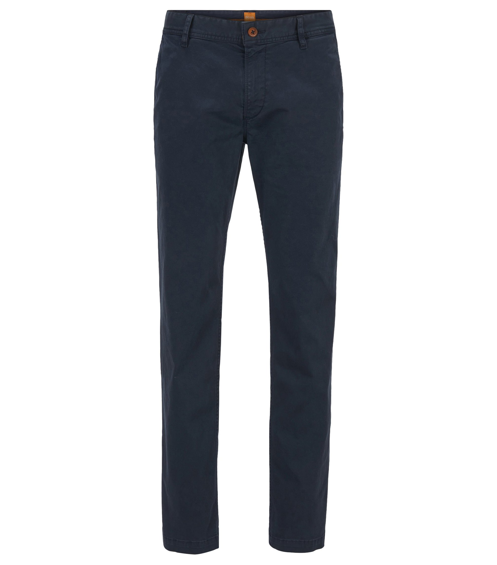 Regular-Fit Chino aus angerauter Stretch-Baumwolle, Dunkelblau