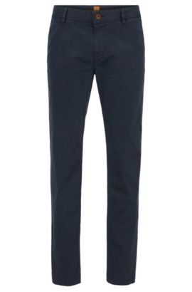 Regular-fit chinos in brushed stretch cotton, Dark Blue
