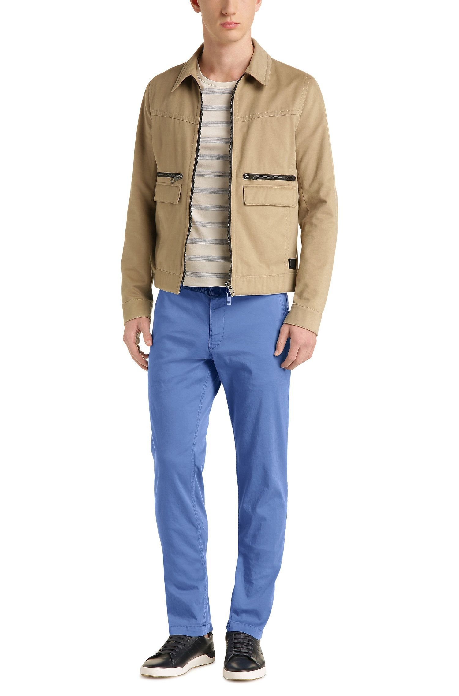 Regular-fit chinos in brushed stretch cotton