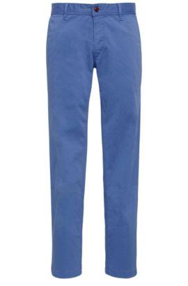 Chino Regular Fit en coton stretch brossé, Bleu vif
