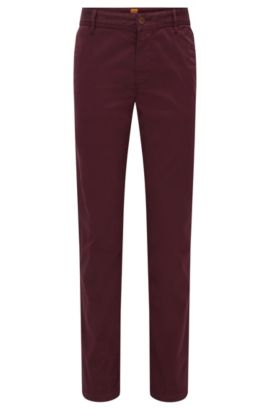 Regular-fit chinos in brushed stretch cotton, Dark Red
