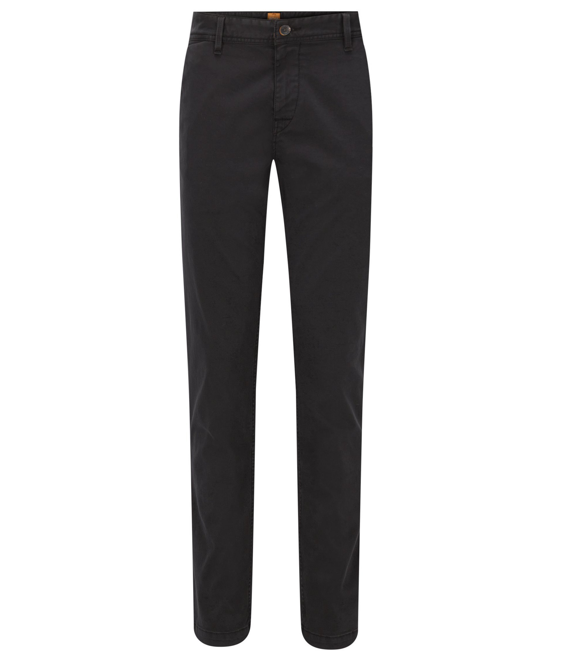 Chino Slim Fit en coton stretch brossé, Noir
