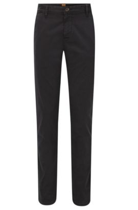 Slim-Fit Chino aus angerauter Stretch-Baumwolle, Schwarz