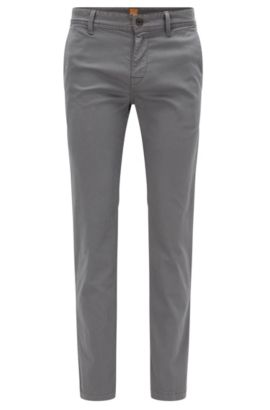Slim-fit chinos in brushed stretch cotton, Dark Grey
