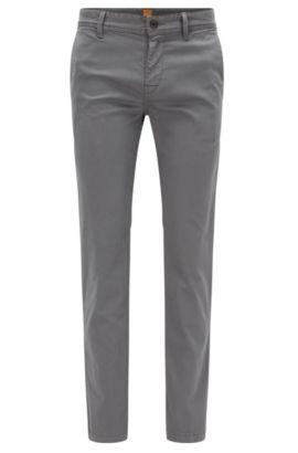 Chino Slim Fit en coton stretch brossé, Gris sombre