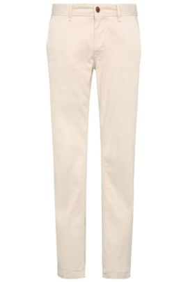 Slim-fit chinos in brushed stretch cotton, Natural