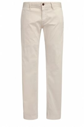 Slim-fit chinos in brushed stretch cotton, Open White