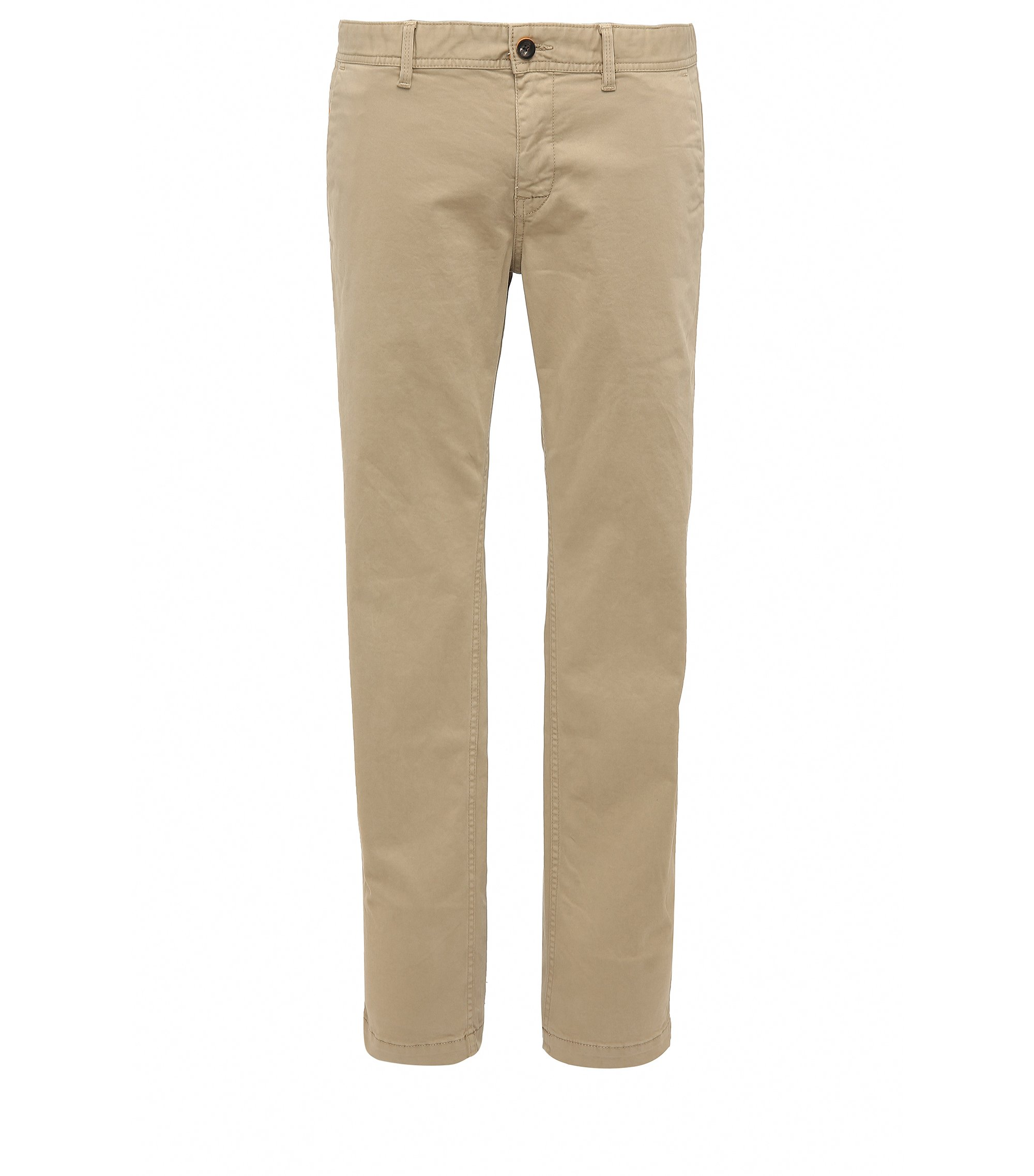 Chino Slim Fit en coton stretch brossé, Brun chiné