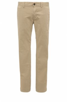 Slim-fit chinos in brushed stretch cotton, Light Brown