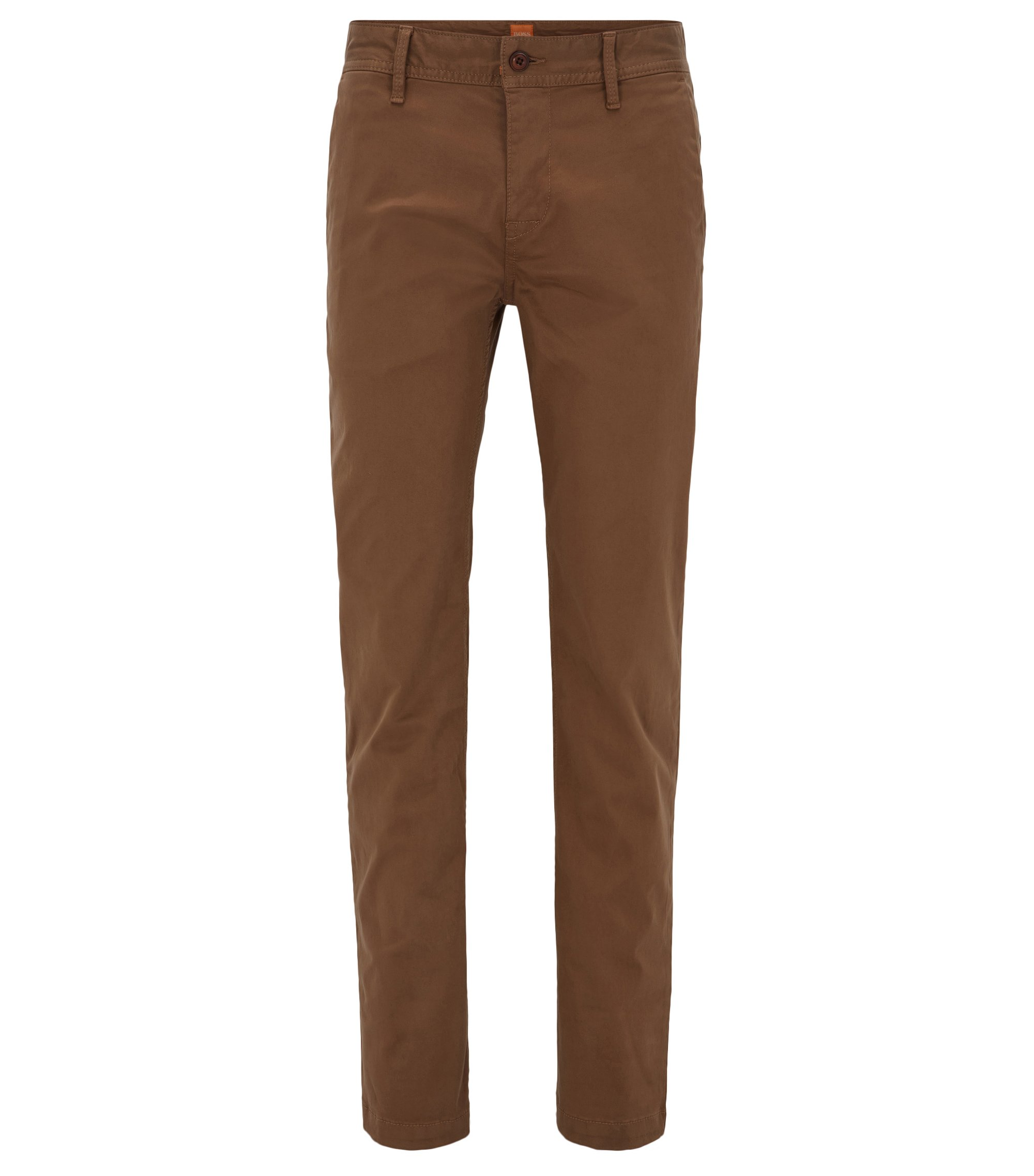 Slim-Fit Chino aus angerauter Stretch-Baumwolle, Braun