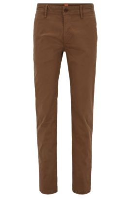 Slim-fit chinos in brushed stretch cotton, Brown