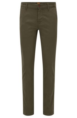 Slim-fit chinos in brushed stretch cotton, Dark Green