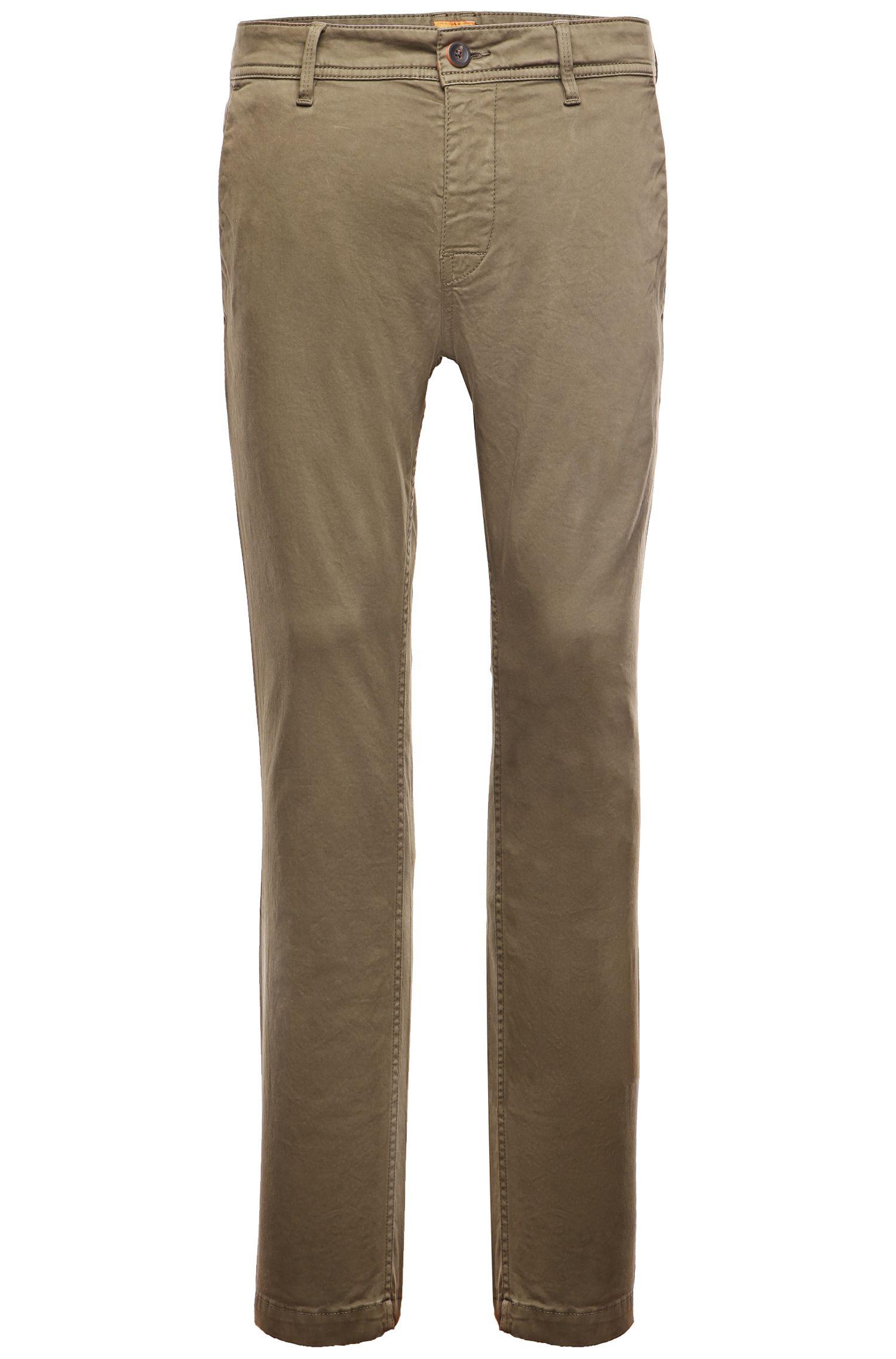 Slim-Fit Chino aus angerauter Stretch-Baumwolle