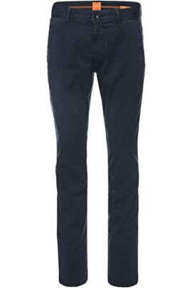 Slim-fit chinos in brushed stretch cotton, Dark Blue