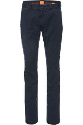 Chino Slim Fit en coton stretch brossé, Bleu foncé