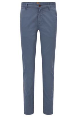 Slim-Fit Chino aus angerauter Stretch-Baumwolle, Blau