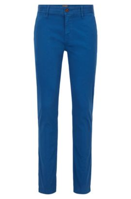 Slim-fit chinos in brushed stretch cotton, Blue