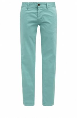 Slim-fit chinos in brushed stretch cotton, Turquoise
